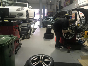 Andy putting the finishing touches to a lovely Porsche Panamera